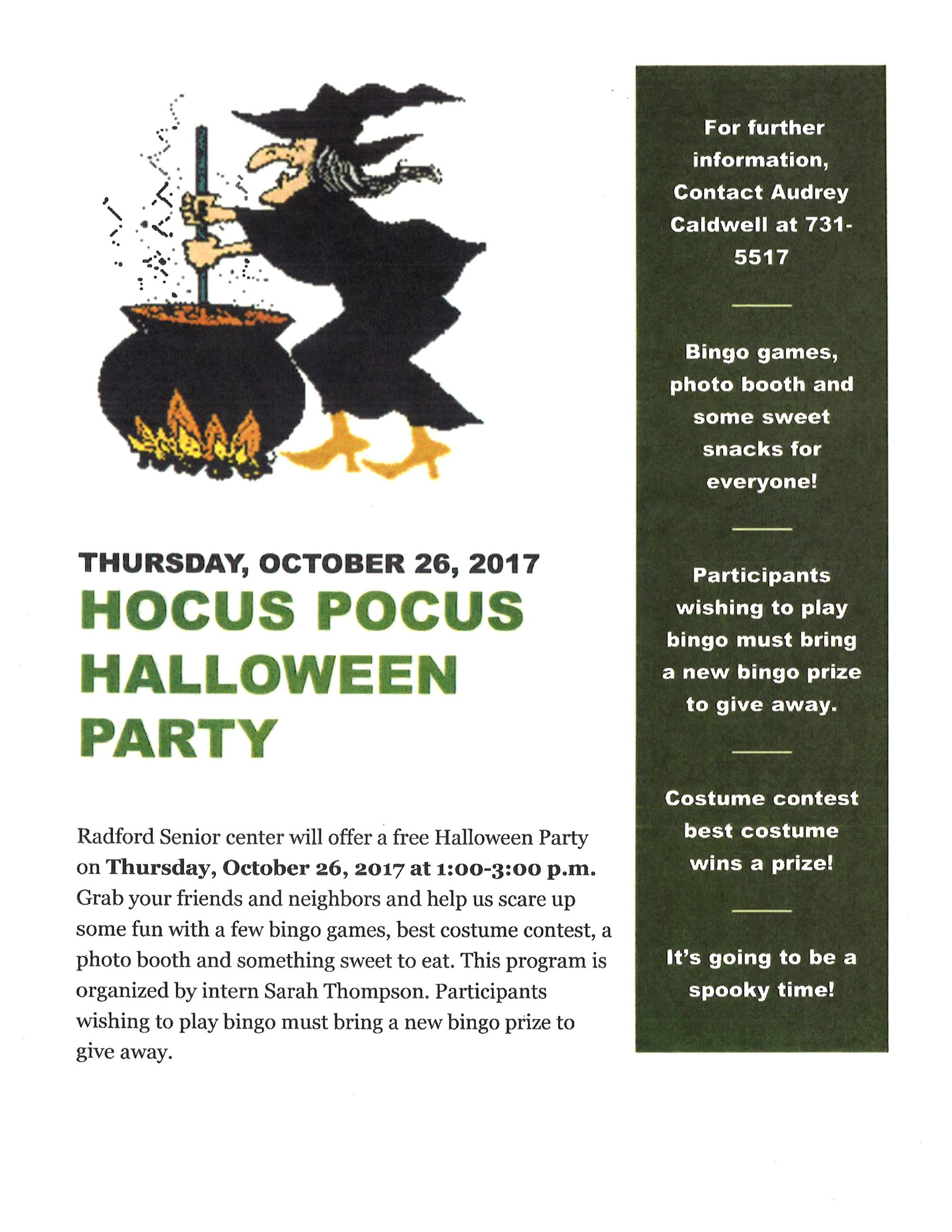 Hocus Pocus Senior Halloween Party Flyer